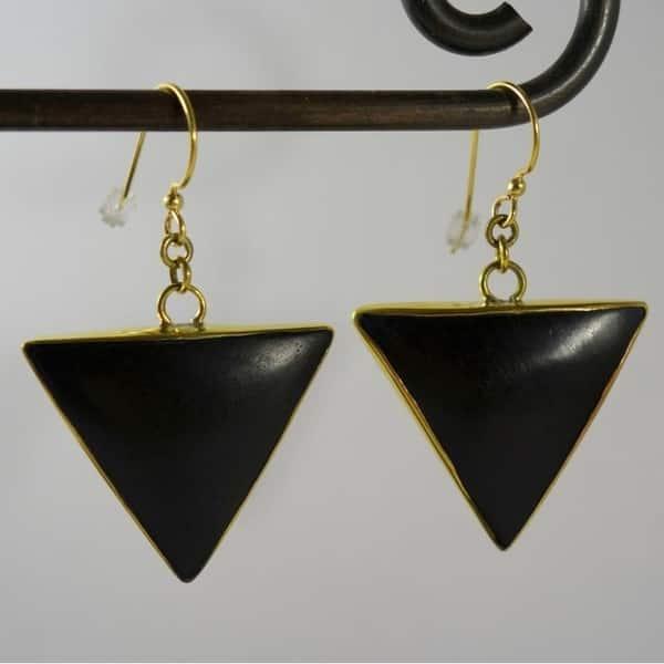 Triangle Wood Earrings