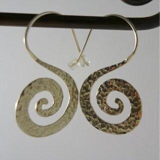 Handmade Goddess Spiral Dangle Earrings in Hammered White Brass by Spirit Tribal (Indonesia)