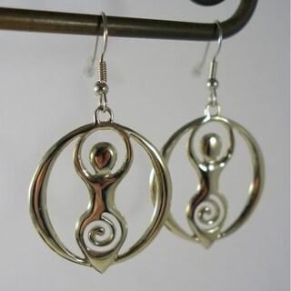 Handmade Goddess Celebration Dangle Earrings in White Brass by Spirit Tribal Fusion (Indonesia)