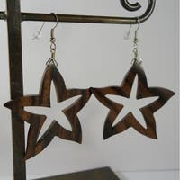 Handmade Carved Wood Starfish Earrings by Spirit Tribal Fusion (Indonesia)