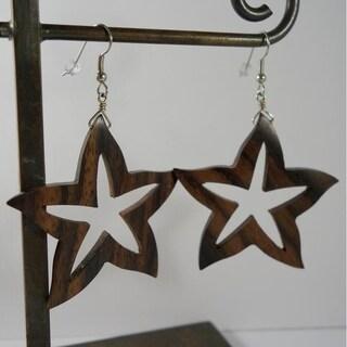 Handmade Carved Wood Starfish Earrings by Spirit Tribal Fusion