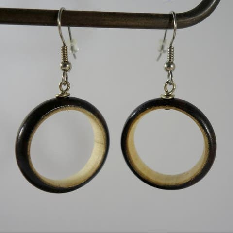 Handmade Two Tone Wood Hoops Dangle Earrings by Spirit (Indonesia)