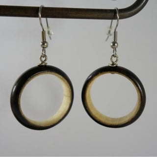 Handmade Two Tone Wood Hoops Dangle Earrings by Spirit Tribal Fusion (Indonesia)