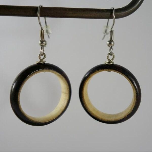 Handmade Two Tone Wood Hoops Dangle Earrings by Spirit Tribal Fusion (Indonesia)