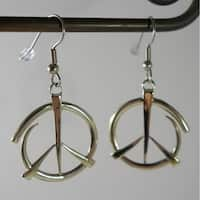 Handmade Dangle Peace Earrings in White Brass by Spirit Tribal Fusion (Indonesia)