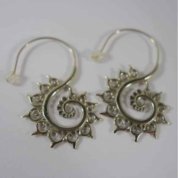 Sacred Spiral Earrings Small White Brass Fibonacci Spiral Hoops free ship /& gift box Tribal Fusion Swirl Jewelry Sterling Silver Wires