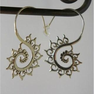 Handmade Fibonacci Swirl Earrings in White Brass by Spirit Tribal Fusion (Indonesia)