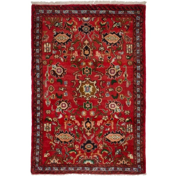 eCarpetGallery Hand-knotted Hamadan Red Wool Rug - 3'4 x 4'10