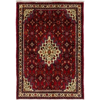 eCarpetGallery  Hand-knotted Hosseinabad Red Wool Rug - 3'3 x 4'9
