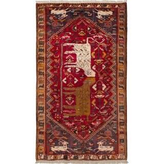 eCarpetGallery Hand-knotted Shiraz Qashqai Red Wool Rug - 5'0 x 8'7