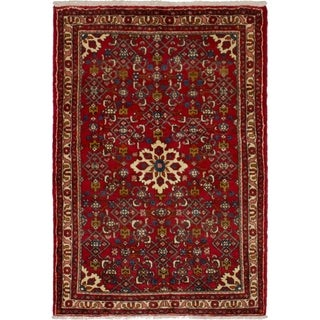 eCarpetGallery  Hand-knotted Hosseinabad Red Wool Rug - 3'6 x 5'1