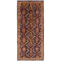 ECARPETGALLERY  Hand-knotted Mahal Dark Navy Wool Rug - 3'5 x 7'10