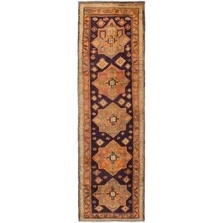 ECARPETGALLERY Hand-knotted Ardabil Dark Copper, Dark Navy Wool Rug - 2'7 x 8'4