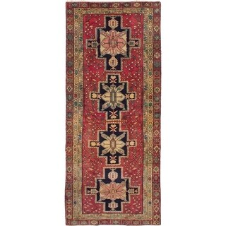 ECARPETGALLERY  Hand-knotted Ardabil Dark Red Wool Rug - 4'6 x 10'10