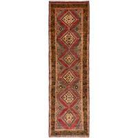 ECARPETGALLERY  Hand-knotted Hamadan Dark Copper Wool Rug - 2'7 x 9'1