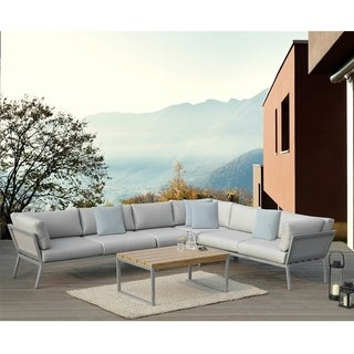 OVE Decors Conrad Grey Fabric Upholstery 5-piece Outdoor Sectional Set