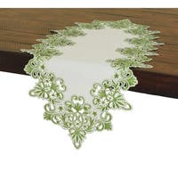 Victorian Lace Embroidered Cutwork Table Runner, 16 by 34-Inch, Green