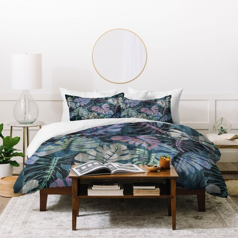 Deny Designs Tropical Palm Leaves Duvet Cover Set (3-Piece Set)