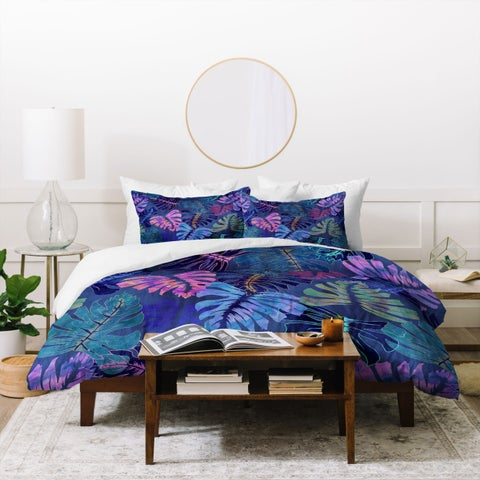 Deny Designs Tropical Florals Indigo Duvet Cover Set (3-Piece Set)
