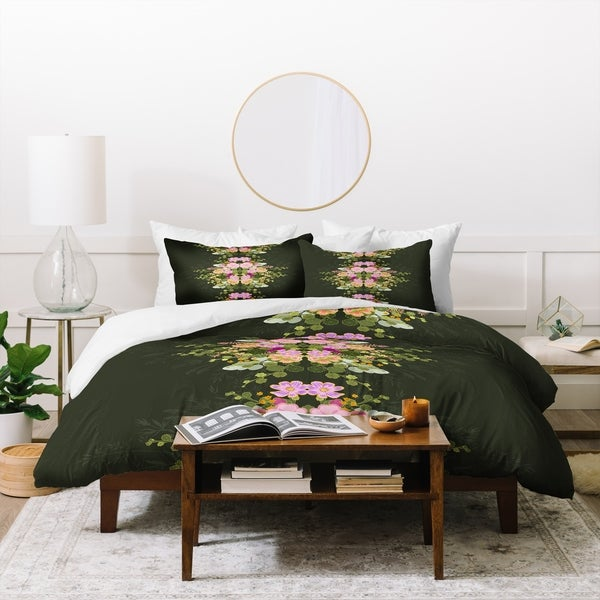 Deny Designs Green Floral Duvet Cover Set (3-Piece Set)