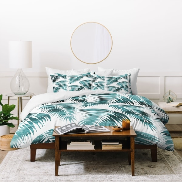 Schatzi Brown Maui Palm Green and White Duvet Cover Set