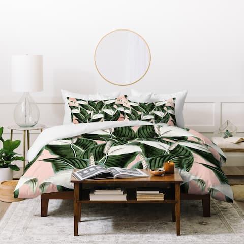 Deny Designs Pink and White Floral Duvet Cover Set (3-Piece Set)