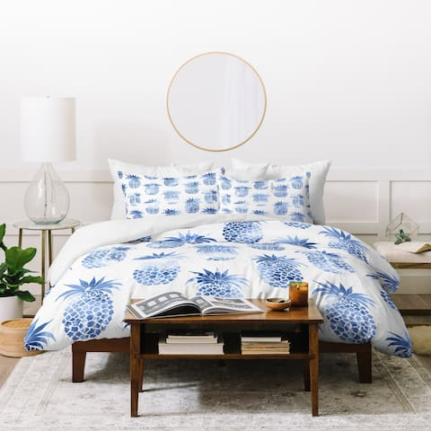 Deny Designs Pineapples Blue Duvet Cover Set (3-Piece Set)
