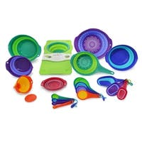 Squish 19-Piece Collapsible Colander, Bowl and Measuring Set with Over-the-Sink Board