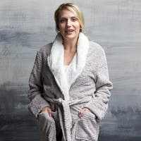 Plush Damask Robe with Faux Fur Collar
