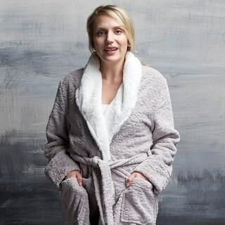 Plush Damask Robe with Faux Fur Collar