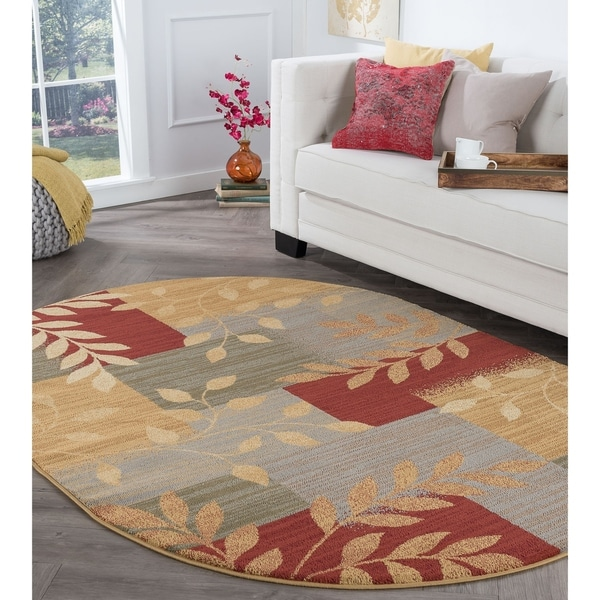 Alise Rugs Rhythm Transitional Abstract Oval Area Rug - 5'3 x 7'3