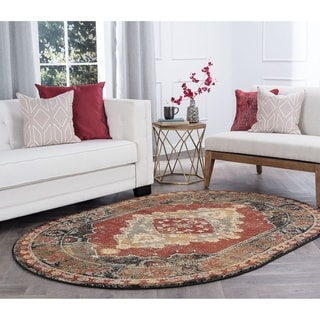 Alise Rugs Soho Transitional Border Oval Area Rug - 5'3 x 7'3