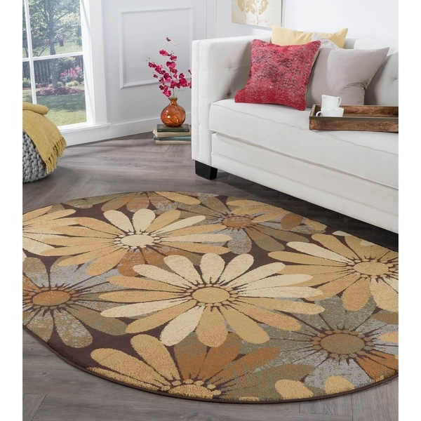 Alise Rugs Rhythm Contemporary Floral Oval Area Rug - 5'3 x 7'3