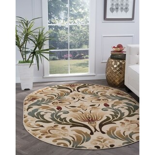 Alise Rugs Lagoon Transitional Ivory Oval Area Rug - 5'3 x 7'3