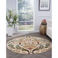 Alise Rugs Lagoon Transitional Floral Round Area Rug - 7'10 x 7'10