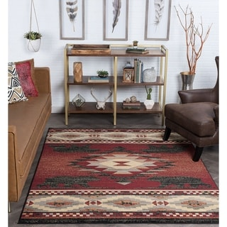 Alise Rugs Natural Lodge Novelty Lodge Area Rug - 5'3 x 7'3
