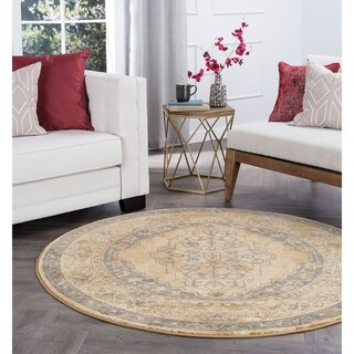 Alise Rugs Soho Transitional Border Round Area Rug - 5'3 x 5'3