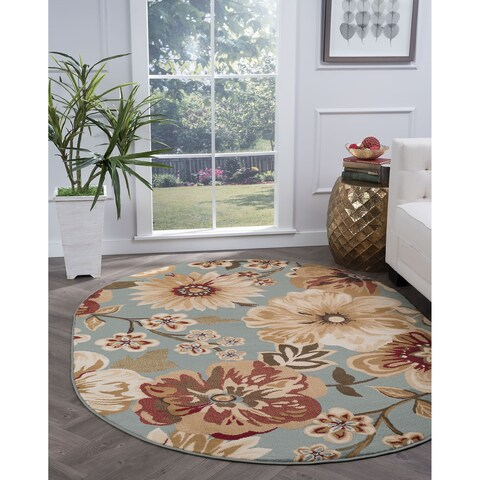Alise Rugs Lagoon Transitional Blue Oval Area Rug - 5'3 x 7'3