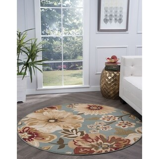 Alise Rugs Lagoon Transitional Blue Round Area Rug - 5'3
