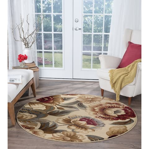 Alise Rugs Infinity Transitional Floral Round Area Rug - 5'3 x 5'3