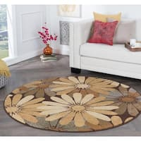 Alise Rugs Rhythm Contemporary Floral Round Area Rug - multi - 7'10 x 7'10
