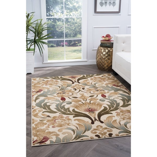 Alise Rugs Lagoon Transitional Floral Area Rug - 5' x 7'