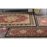 Alise Rugs Rhythm Red 3-piece Oriental Area Rug Set