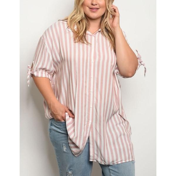 07c34f1a581 Shop JED Women's Plus Size Flowy Striped Button Down Tunic Shirt ...