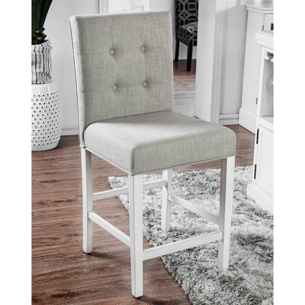 Furniture Of America Tia Antique White Nailhead Counter Height Chairs Set 2