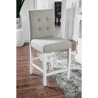 Furniture of America Tia Antique White Nailhead Counter Height Chairs, Set of 2