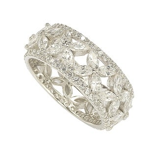 Suzy Levian Sterling Silver Cubic Zirconia Floral Eternity Band