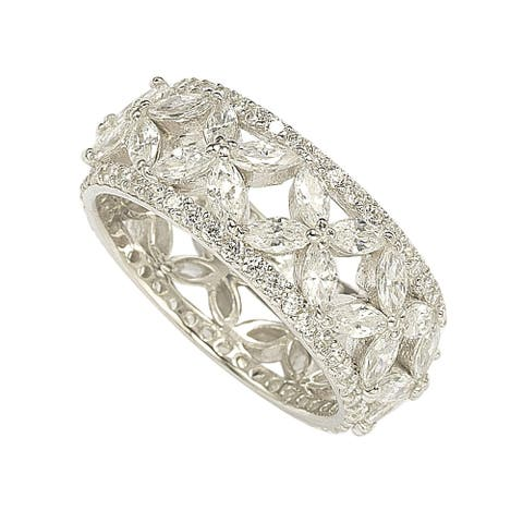 Suzy L. Sterling Silver Cubic Zirconia Floral Eternity Band
