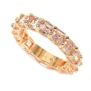 Suzy Levian Rosed Sterling Silver Pink Cubic Zirconia Asscher Cut Eternity Band
