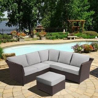 OVE Decors Clara Grey Wicker with Fabric Cushions 3-piece Outdoor Sectional Set